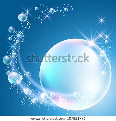 Glowing background with bubbles and stars - stock vector