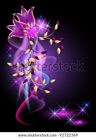 Glowing background with golden ornament - stock vector