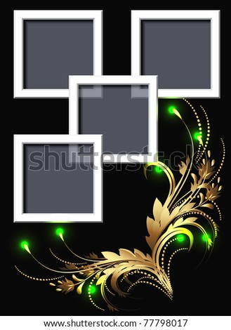 Glowing background with golden ornament for inserting text and photo - stock vector