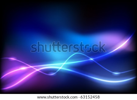 Glowing background with neon line - stock vector