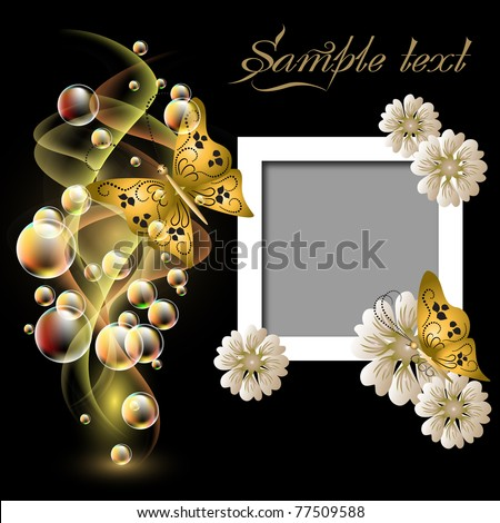 Glowing background with smoke, flowers and butterflies for inserting text and photo - stock vector