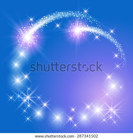 Glowing blue background with sparkle stars round frame - stock vector