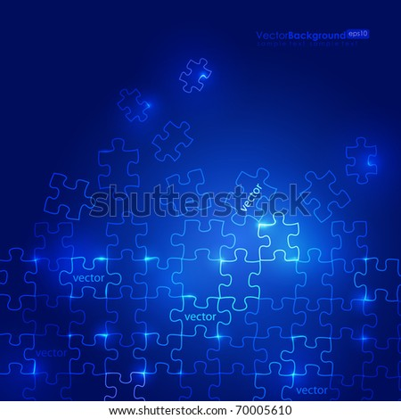 Glowing Blue Puzzle Vector Background - stock vector