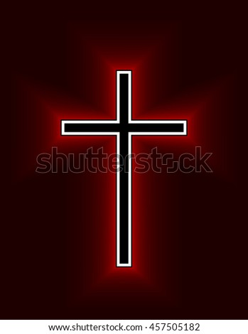 Glowing Christian Cross isolated over black background. Fire cross, holy cross drawing. Vector illustration. - stock vector