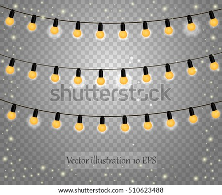 Glowing Christmas Lights Vector 10 EPS Vintage Bulb Lamps Isolated On Transparent Background