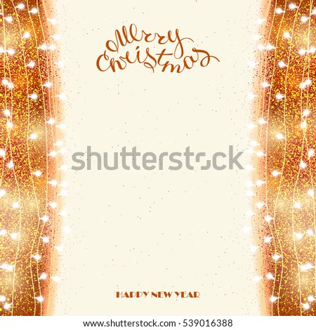 glowing christmas tree garland holiday card with decorations bright vertical border of garlands lamps