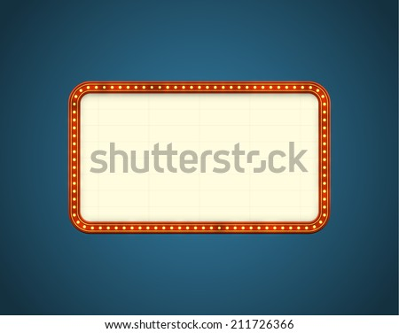 Glowing cinema signboard with light bulbs on the contour. EPS10 vector background, - stock vector