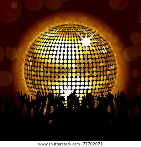 glowing cold disco ball with paryting crowd - stock vector