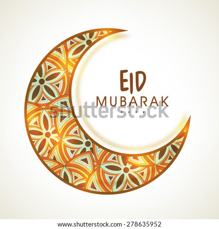 Glowing crescent moon decorated with traditional floral pattern for Muslim community festival, Eid celebration. - stock vector