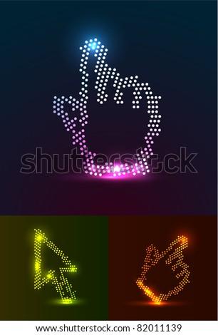 Glowing cursors - stock vector