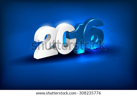 Glowing 3D lettering 2016 on blue background - greeting card for New Year 2016 - place for text. Vector illustration. - stock vector