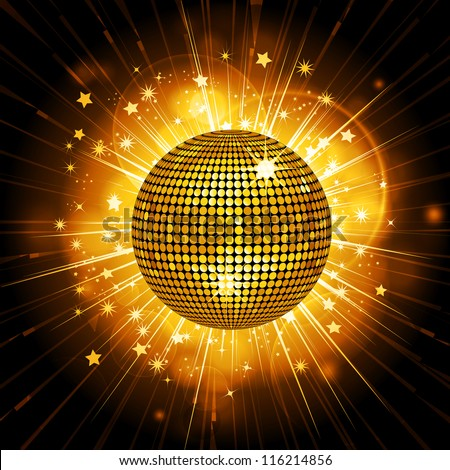 Glowing disco ball on a light burst background - stock vector