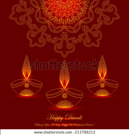 Glowing Diwali Lamps Design with Decorative Ornament - stock vector