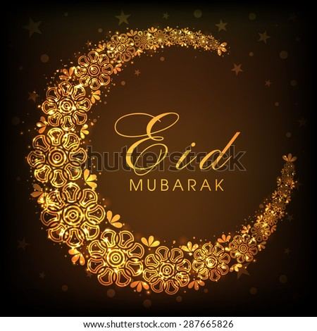 Glowing floral design decorated beautiful golden crescent moon on brown background for Islamic holy festival, Eid celebrations. - stock vector