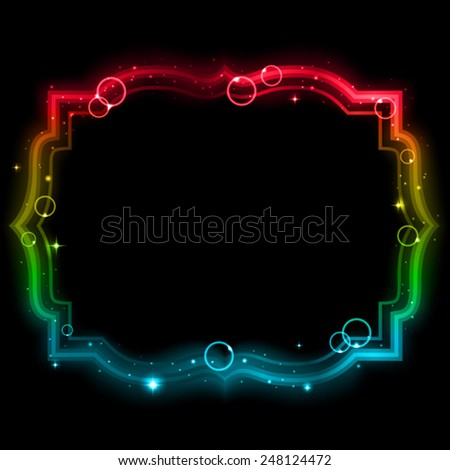 Glowing frame on a black background. Mesh.This file contains transparency. - stock vector