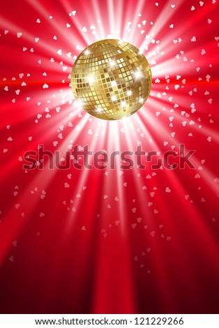 Glowing gold disco ball on a light. Vector - stock vector