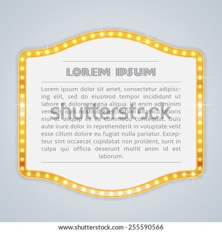 Glowing gold signboards with light bulbs on the contour. Retro vintage frame vector - stock vector
