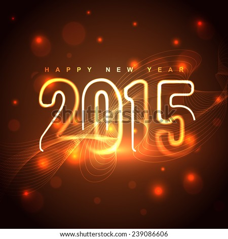 glowing golden 2015 design with transparent circles at the back - stock vector