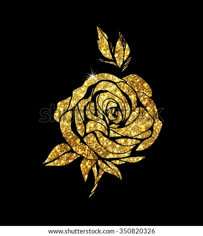 Glowing golden rose on background. Gold sparkles rose. Gold banner.