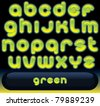 Glowing Green Font, blurred vector alphabet isolated on black background - stock photo