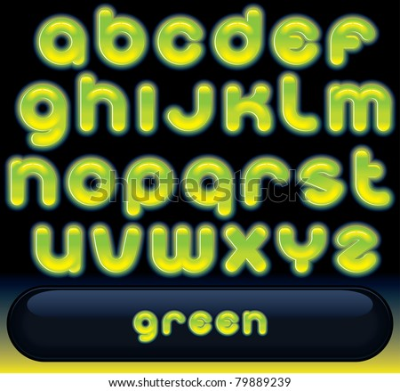 Glowing Green Font, blurred vector alphabet isolated on black background - stock vector