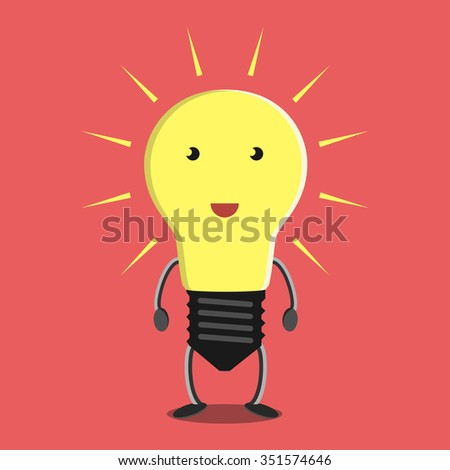 Glowing light bulb character on red background. Idea, insight, solution, inspiration, eureka, success and aha moment concept. EPS 8 vector illustration, no transparency - stock vector