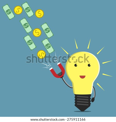 Glowing light bulb character with magnet attracting money. Creativity, innovation, business, success, money, investments, wealth concept. EPS 10 vector illustration, no transparency - stock vector