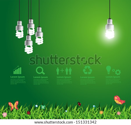 Glowing light bulb hanging above grass symbol of ecological energy, Vector illustration modern template design - stock vector