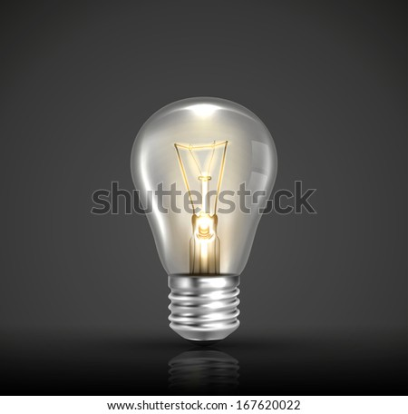 Glowing light bulb vector
