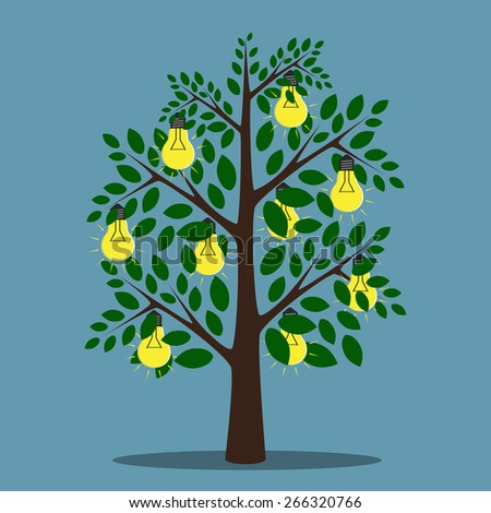 Glowing light bulbs hanging on tree with green leaves, creativity, insight, inspiration concept, EPS 10 vector illustration, no transparency - stock vector