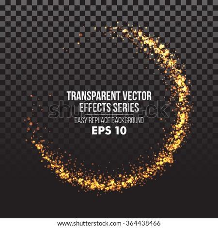 Glowing light burst circles on a plaid dark black transparent background. Vector illustration EPS10 - stock vector
