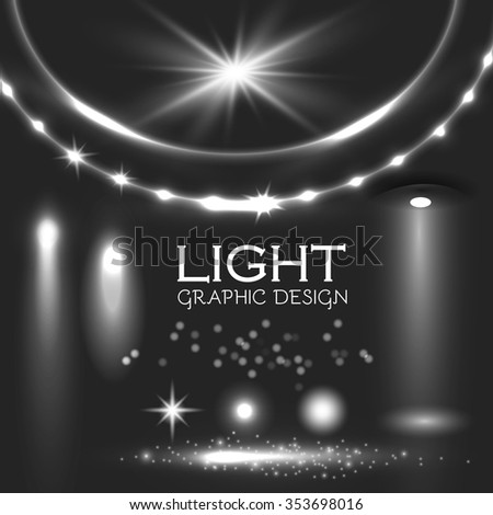 Glowing Light Effects. Realistic Lens Flare Collection. Transparent Design. Vector illustration - stock vector