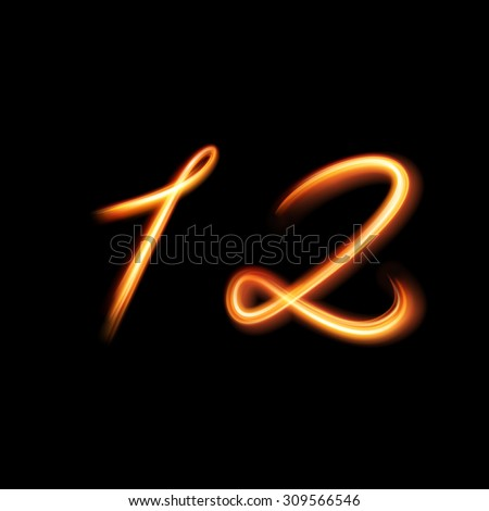 Glowing light number one and two. Hand lighting painting - stock vector