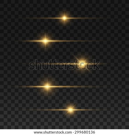 Glowing lights and stars. Isolated on black transparent background. Vector illustration, eps 10. - stock vector