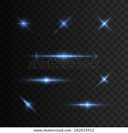 Glowing lights and stars. Isolated on transparent background. Vector illustration, eps 10. - stock vector