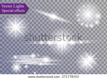 Glowing lights effect, flare, explosion and stars.  - stock vector