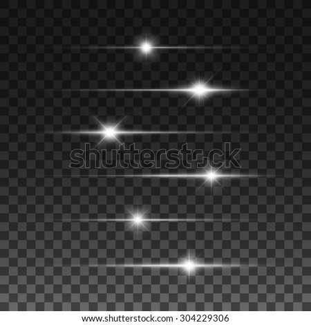 Glowing lights, stars and sparkles. Isolated on black transparent background. Vector illustration, eps 10. - stock vector