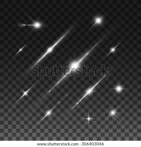 Glowing lights, stars and sparkles. Isolated on transparent background. Vector illustration, eps 10. - stock vector