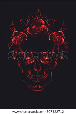 Glowing linear skull wearing a wreath of roses with red luminous eyes