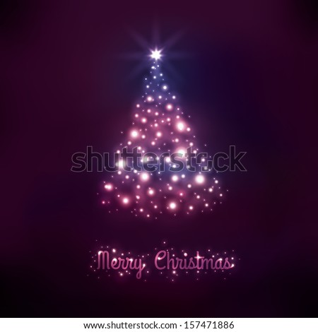 glowing Merry Christmas card with Christmas tree - stock vector