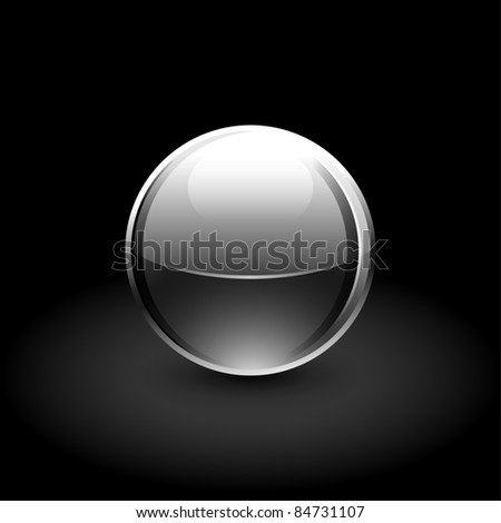 Glowing metallic ball with black shadow on gray background - stock vector