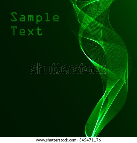 glowing neon waves on a green background - stock vector