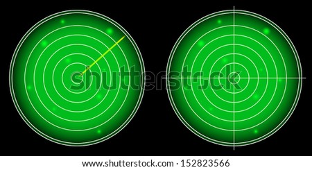 Glowing Radar Screen with Luminous Targets vector illustration - stock vector