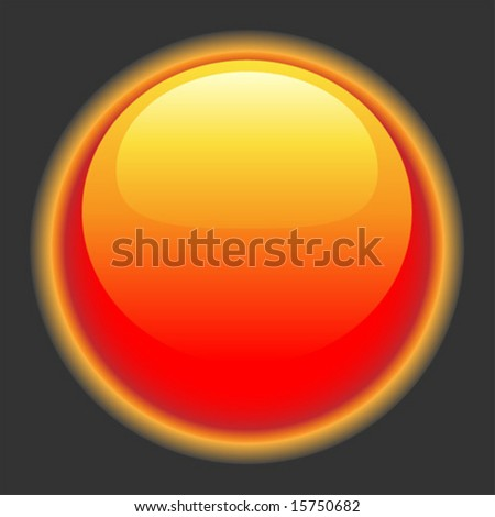 Glowing red hot button for website or interface.  Vector art. - stock vector