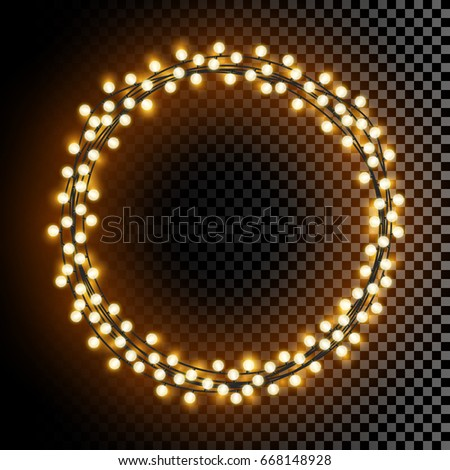 glowing round vector lights wreath frame stock vector royalty free