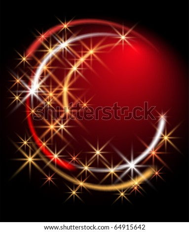 Glowing round with stars - stock vector