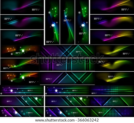 Glowing shapes on dark background. Vector set of black headers with light effects - stock vector