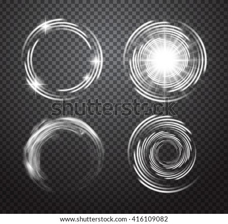 Glowing special vector light effects set isolated on plaid background. Smoke swirl, flare and explosion with transparency.  - stock vector