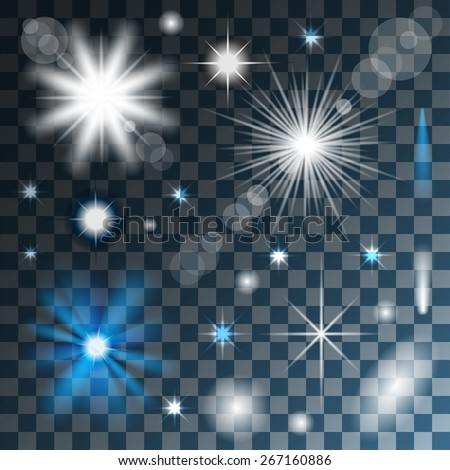 Glowing stars, lights and sparkles on Transparent background. Vector. Illustration. - stock vector