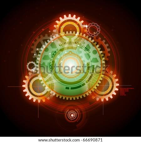 Glowing techno gears - stock vector